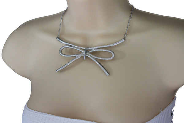 Copper / Silver Metal Chain Knot Bow Tie Charm Pendant Necklace + Earrings Set New Women Fashion Jewelry - alwaystyle4you - 18