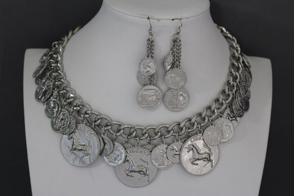 Silver Metal Chain Liberty Rodeo Horse Coin Charm New Necklace + Earrings set Women Fashion Jewelry - alwaystyle4you - 2