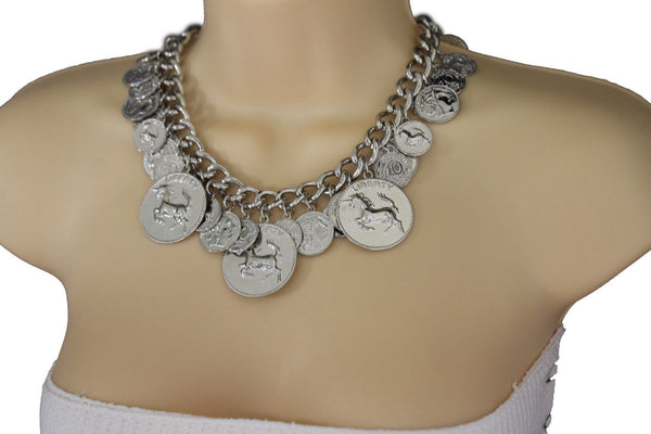 Silver Metal Chain Liberty Rodeo Horse Coin Charm New Necklace + Earrings set Women Fashion Jewelry - alwaystyle4you - 3