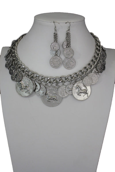 Silver Metal Chain Liberty Rodeo Horse Coin Charm New Necklace + Earrings set Women Fashion Jewelry - alwaystyle4you - 6