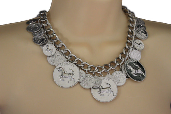 Silver Metal Chain Liberty Rodeo Horse Coin Charm New Necklace + Earrings set Women Fashion Jewelry - alwaystyle4you - 7