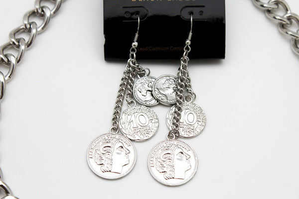 Silver Metal Chain Liberty Rodeo Horse Coin Charm New Necklace + Earrings set Women Fashion Jewelry - alwaystyle4you - 8