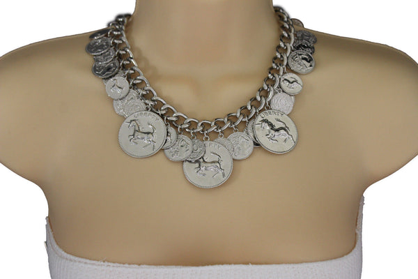 Silver Metal Chain Liberty Rodeo Horse Coin Charm New Necklace + Earrings set Women Fashion Jewelry - alwaystyle4you - 9