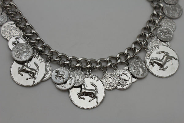 Silver Metal Chain Liberty Rodeo Horse Coin Charm New Necklace + Earrings set Women Fashion Jewelry - alwaystyle4you - 10