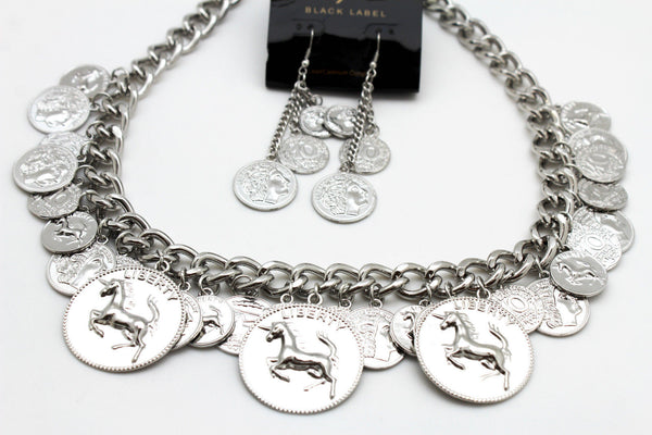 Silver Metal Chain Liberty Rodeo Horse Coin Charm New Necklace + Earrings set Women Fashion Jewelry - alwaystyle4you - 12
