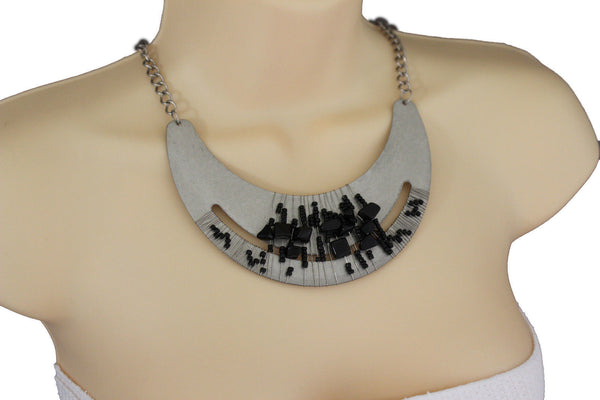 Silver / Gold Metal Chain Plate Black Stone Bead Necklace + Earrings Set New Women Fashion Jewelry - alwaystyle4you - 22