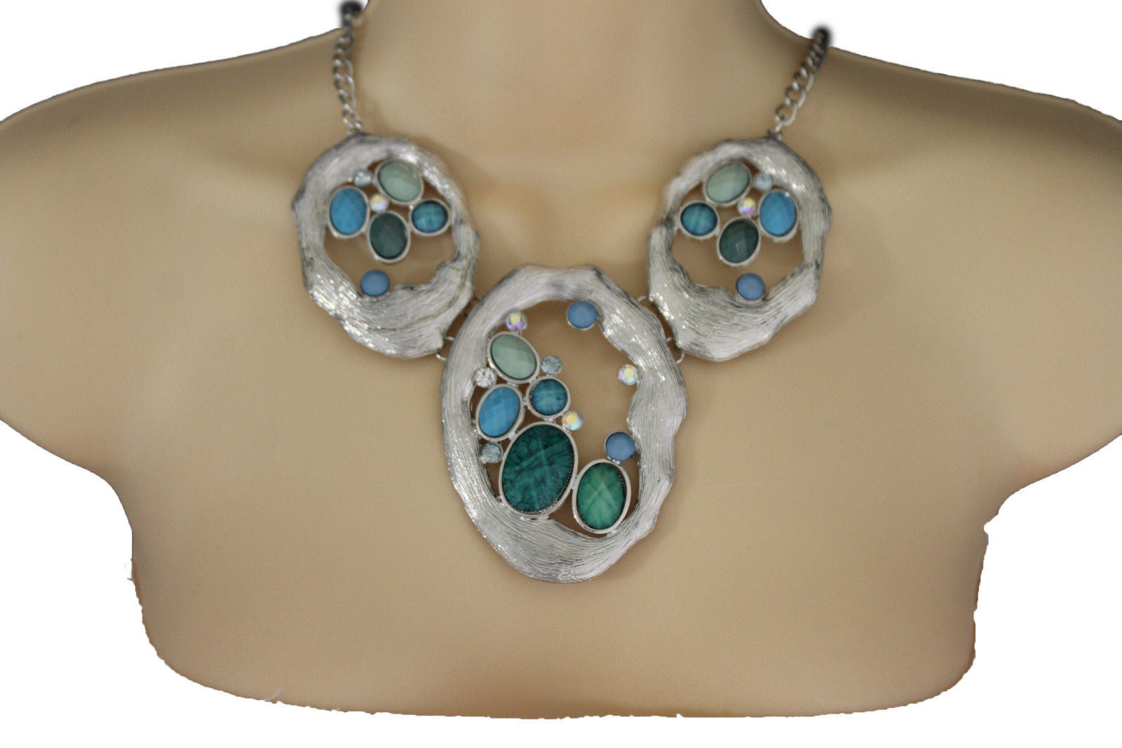 Silver Metal Chains Nautical Charms Turquoise Blue Beads Necklace Earrings  Set New Women Accessories