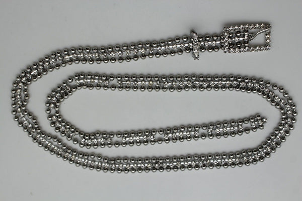 Silver Thin Metal Chains Classic Narrow Multi Rhinestones Belt New Women Fashion Accessories XS S M - alwaystyle4you - 4