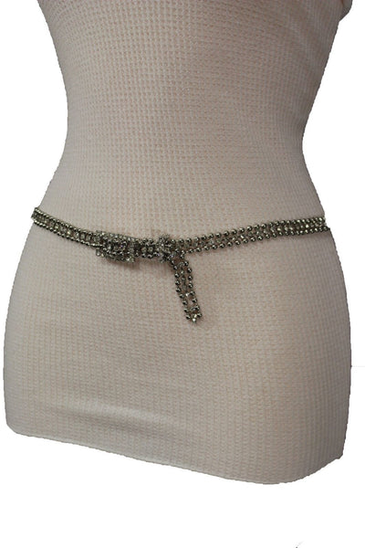 Silver Thin Metal Chains Classic Narrow Multi Rhinestones Belt New Women Fashion Accessories XS S M - alwaystyle4you - 5