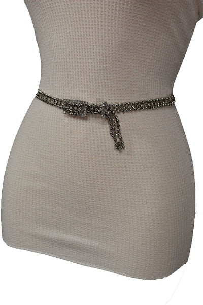 Silver Thin Metal Chains Classic Narrow Multi Rhinestones Belt New Women Fashion Accessories XS S M - alwaystyle4you - 8