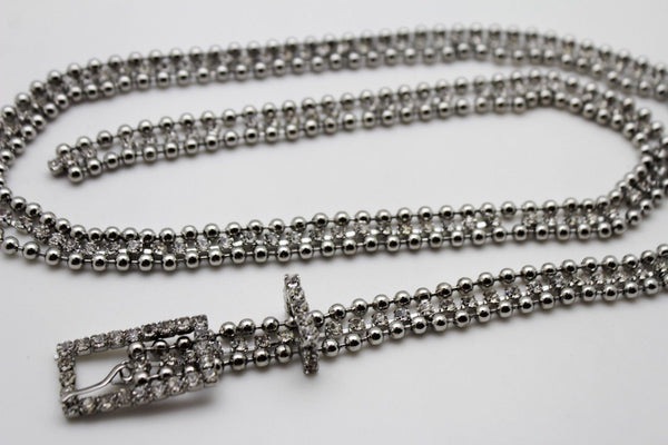 Silver Thin Metal Chains Classic Narrow Multi Rhinestones Belt New Women Fashion Accessories XS S M - alwaystyle4you - 9
