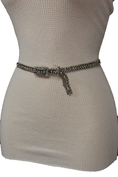 Silver Thin Metal Chains Classic Narrow Multi Rhinestones Belt New Women Fashion Accessories XS S M - alwaystyle4you - 10