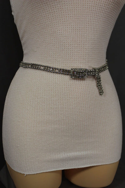 Silver Thin Metal Chains Classic Narrow Multi Rhinestones Belt New Women Fashion Accessories XS S M - alwaystyle4you - 12