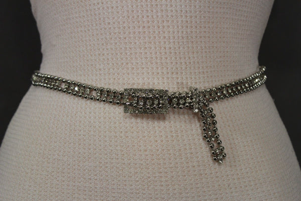 Silver Thin Metal Chains Classic Narrow Multi Rhinestones Belt New Women Fashion Accessories XS S M - alwaystyle4you - 1