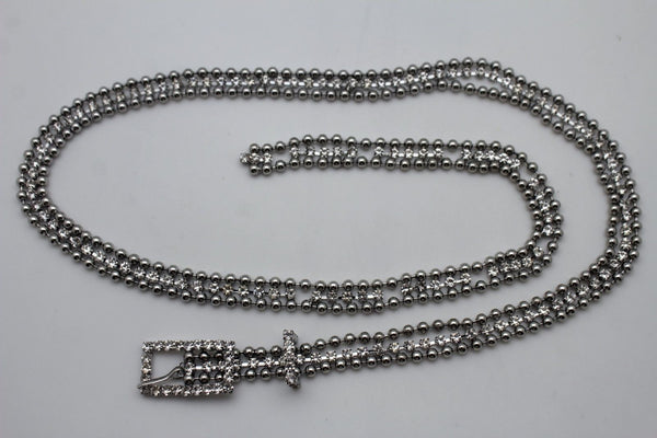 Silver Thin Metal Chains Classic Narrow Multi Rhinestones Belt New Women Fashion Accessories XS S M - alwaystyle4you - 2