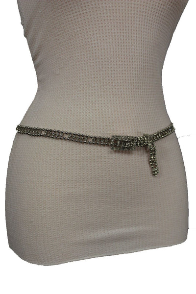 Silver Thin Metal Chains Classic Narrow Multi Rhinestones Belt New Women Fashion Accessories XS S M - alwaystyle4you - 3