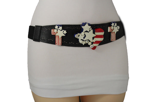Black Leather Stretch Western Belt Cross State USA Flag New Women Fashion Accessories S M