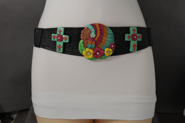 Black Faux Leather Stretch Waist Multi Colors Cross Flowers Western Belt Women Accessories S-M