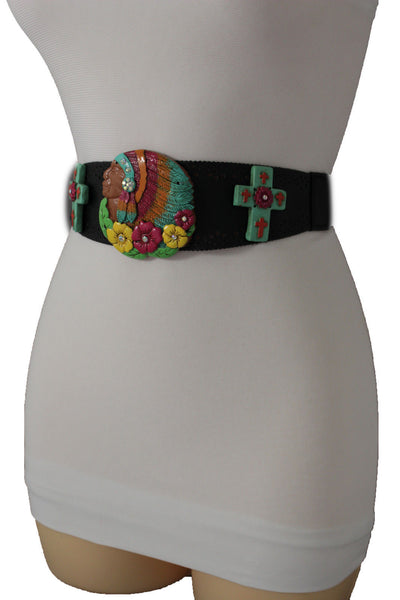 Black Faux Leather Stretch Turquoise Cross Flowers Indian Western Belt Women Accessories S-M