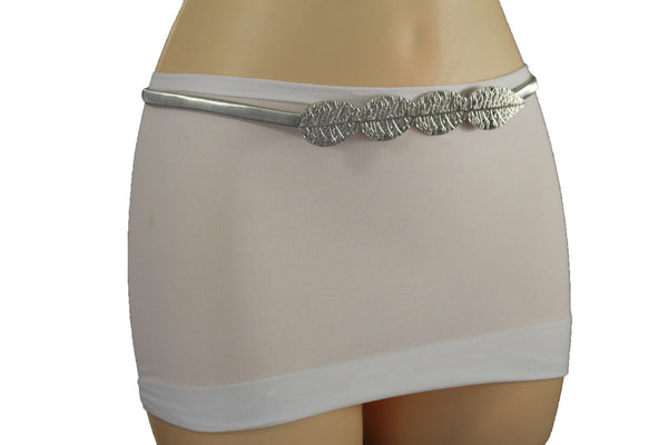 Silver Gold Metal Long Leaf Charm Buckle Skinny Stretch Waistband Belt New Women Fashion Accessories M L XL