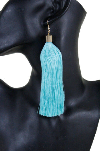 New Women Fashion Teal Blue Fabric Tassel Long Fringe Earrings Set