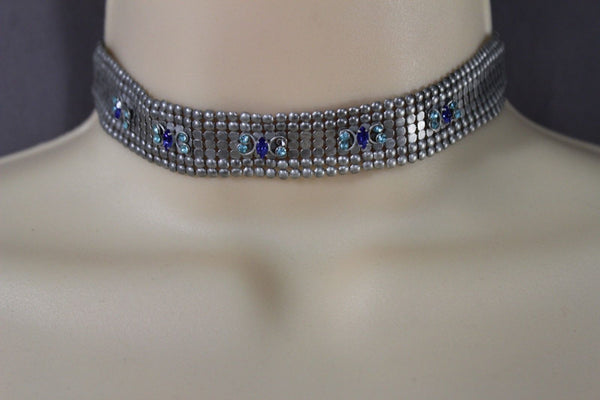 Silver Metal Neck Narrow Choker Necklace Pink Blue Green Butterfly New Women Fashion Jewelry Accessories