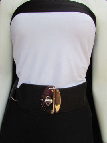 Black Faux Leather Gold Side Ring Wide Elastic Waist Hip Belt Buckle New Women Fashion S M - alwaystyle4you - 13