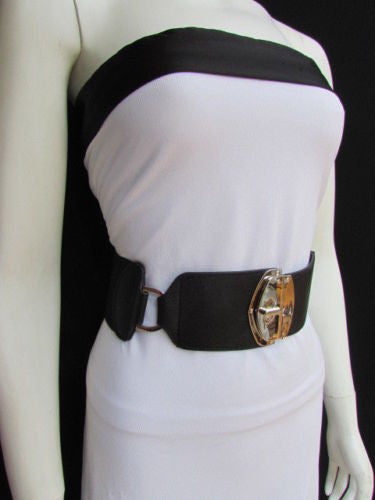Black Faux Leather Gold Side Ring Wide Elastic Waist Hip Belt Buckle New Women Fashion S M - alwaystyle4you - 3