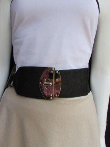 Black Faux Leather Gold Side Ring Wide Elastic Waist Hip Belt Buckle New Women Fashion S M - alwaystyle4you - 4