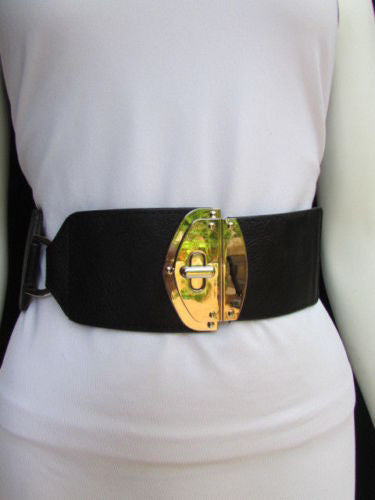 Black Faux Leather Gold Side Ring Wide Elastic Waist Hip Belt Buckle New Women Fashion S M