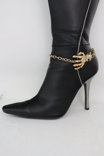 New Women Western Halloween  Boot Bracelet Gold Chains Bling Anklet Shoe Charm Skull Bones Hand