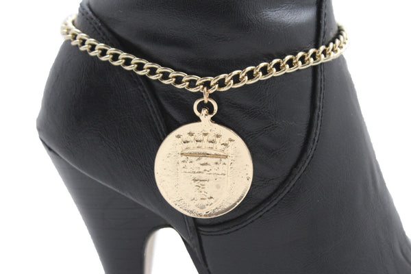 Gold Metal Boot Chain Bracelet Coin Shield Bling Anklet Shoe Charm New Women Western Hot Accessories - alwaystyle4you - 9