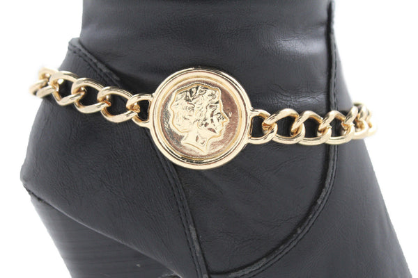 Gold Metal Boot Bracelet Chain Greece Coin Bling Anklet Shoe Charm New Women Western Hot Fashion Accessories - alwaystyle4you - 9