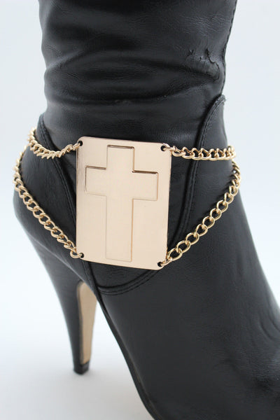 Gold Metal Boot Chain Links Bracelet Big Cross Plate Anklet Shoe Charm New Women Fashion Accessories