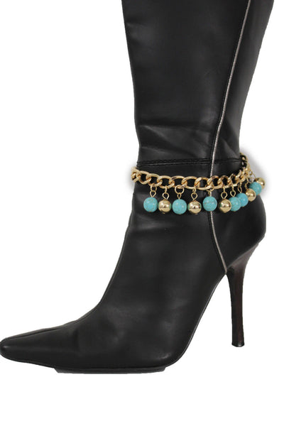 Gold Metal Chains Boot Bracelet High Heels Shoe Charm Anklet Turquoise Blue Balls Women Accessories