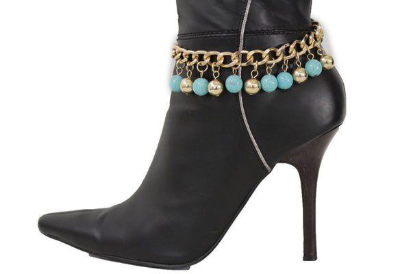 Gold Metal Chains Boot Bracelet High Heels Shoe Charm Anklet Turquoise Blue Balls New Women Western Moroccan Fashion Accessories
