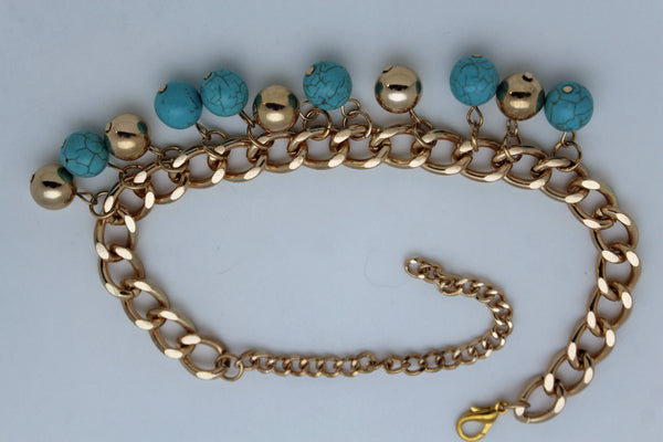 Gold Metal Chains Boot Multi Balls Anklet Shoe Turquoise Blue Women Moroccan Hot Fashion