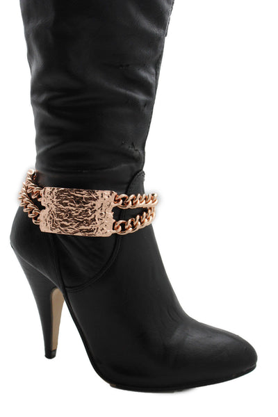 Gold Silver Metal Boot Chains Bracelet Sqaure Plate Anklet Shoe Charm New Women Western Style - alwaystyle4you - 16