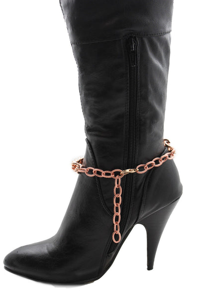 Gold Silver Metal Boot Chains Bracelet Sqaure Plate Anklet Shoe Charm New Women Western Style - alwaystyle4you - 17