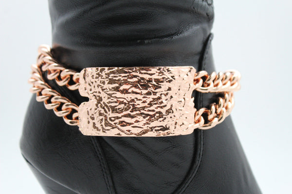 Gold Silver Metal Boot Chains Bracelet Sqaure Plate Anklet Shoe Charm New Women Western Style - alwaystyle4you - 19