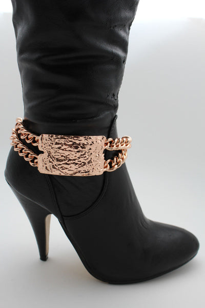 Gold Silver Metal Boot Chains Bracelet Sqaure Plate Anklet Shoe Charm New Women Western Style - alwaystyle4you - 2
