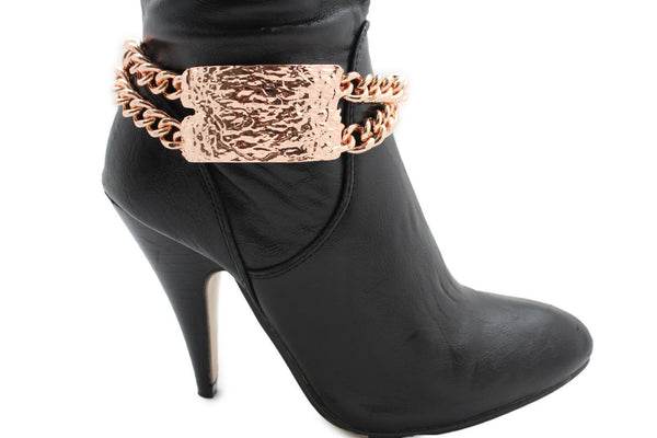 Gold Silver Metal Boot Chains Bracelet Sqaure Plate Anklet Shoe Charm New Women Western Style - alwaystyle4you - 21