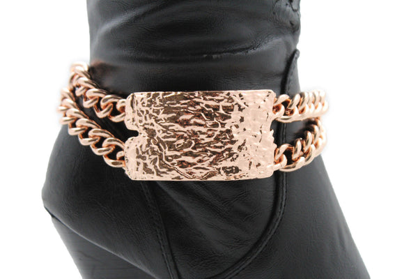 Gold Silver Metal Boot Chains Bracelet Sqaure Plate Anklet Shoe Charm New Women Western Style - alwaystyle4you - 22