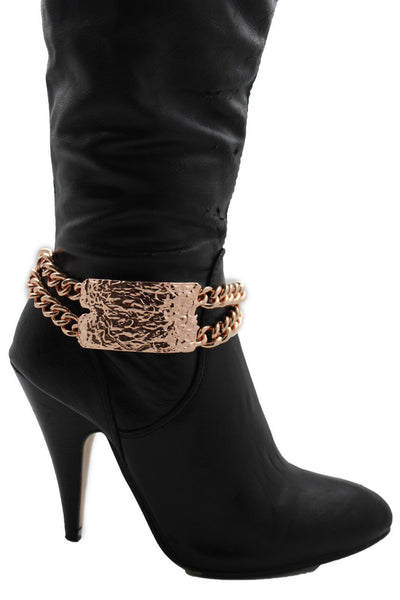 Gold Silver Metal Boot Chains Bracelet Sqaure Plate Anklet Shoe Charm New Women Western Style - alwaystyle4you - 23