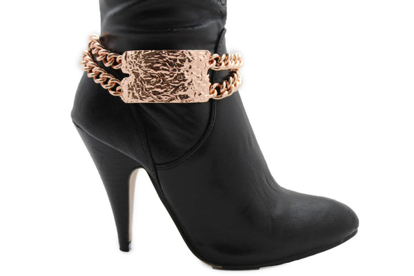 Gold Silver Metal Boot Chains Bracelet Sqaure Plate Anklet Shoe Charm New Women Western Style - alwaystyle4you - 13