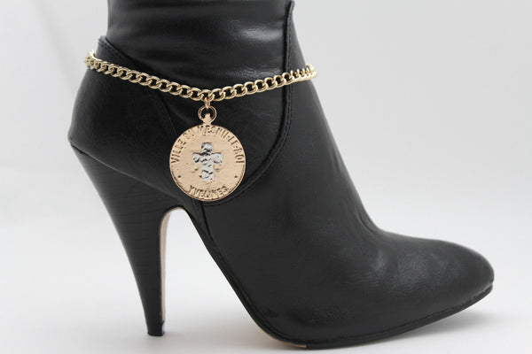 Gold Metal Boot Bracelet Chains Coin Cross Bling Anklet Shoe Charm New Women Western