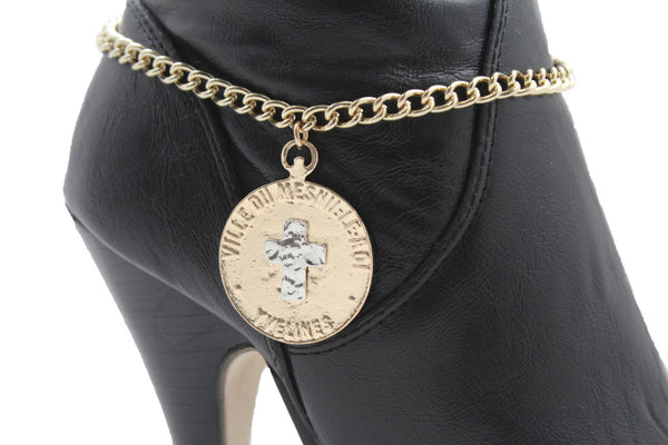 Gold Metal Boot Bracelet Chains Coin Cross Bling Anklet Shoe Charm New Women Western - alwaystyle4you - 7
