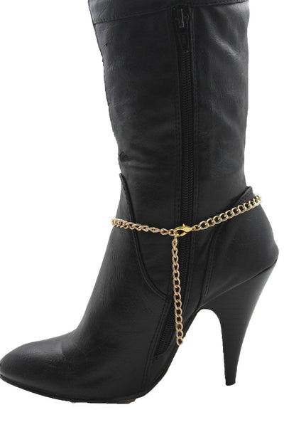 Gold Metal Boot Bracelet Chains Coin Cross Bling Anklet Shoe Charm New Women Western - alwaystyle4you - 9