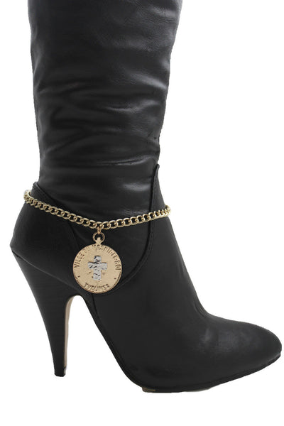 Gold Metal Boot Bracelet Chains Coin Cross Bling Anklet Shoe Charm New Women Western - alwaystyle4you - 11
