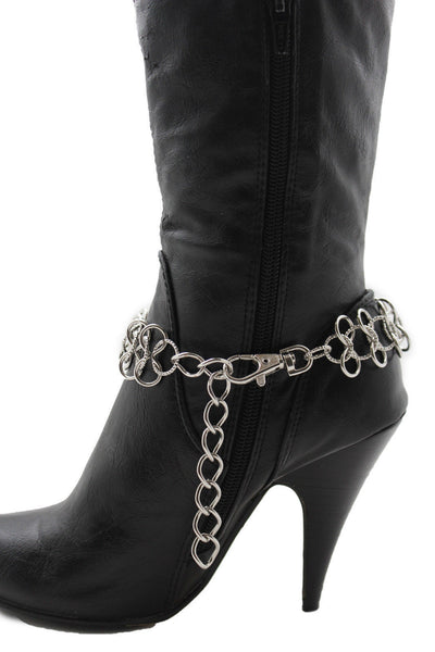 Gold / Silver Metal Boot Bracelet Chain Link Wide Bling Anklet Shoe Charm New Women Western Style - alwaystyle4you - 12
